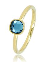 My Bendel Gouden Ring met Blauwe Vierkante Steen
