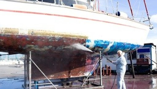 Verf en antifouling polyester boot of schip