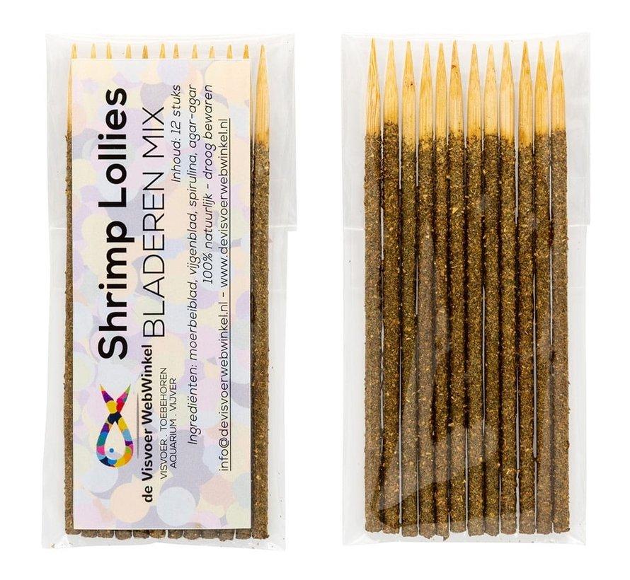 Nano Garnalen Lollies - bladeren mix 12 stuks