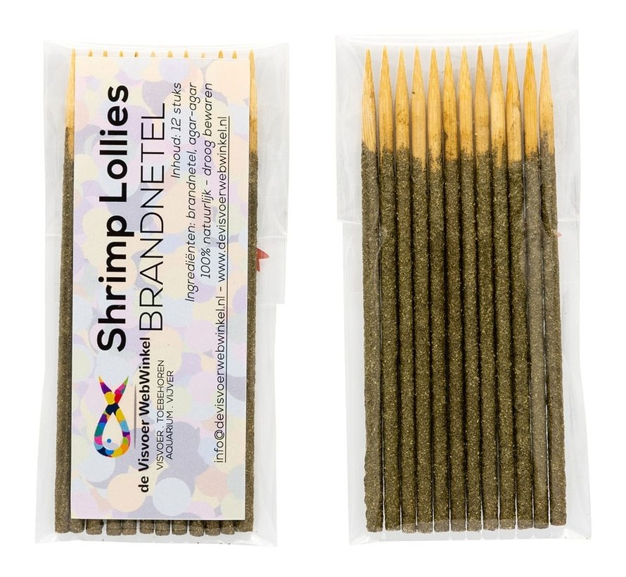 Nano Garnalen Lollies - brandnetel 12 stuks