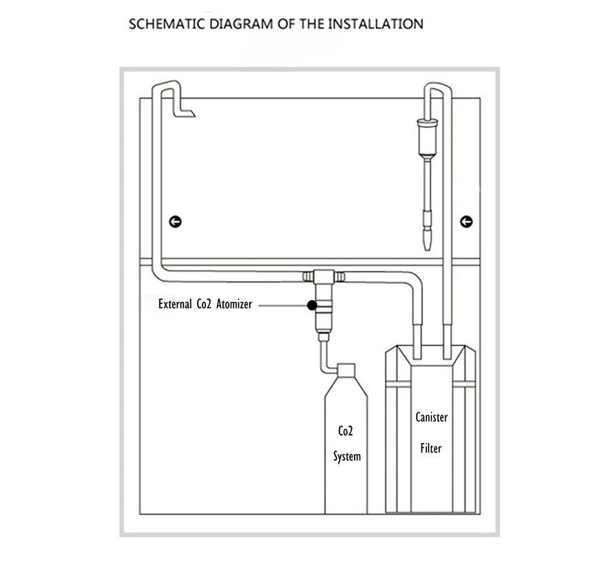 AAQUA Inline CO2 Atomizer + bellenteller
