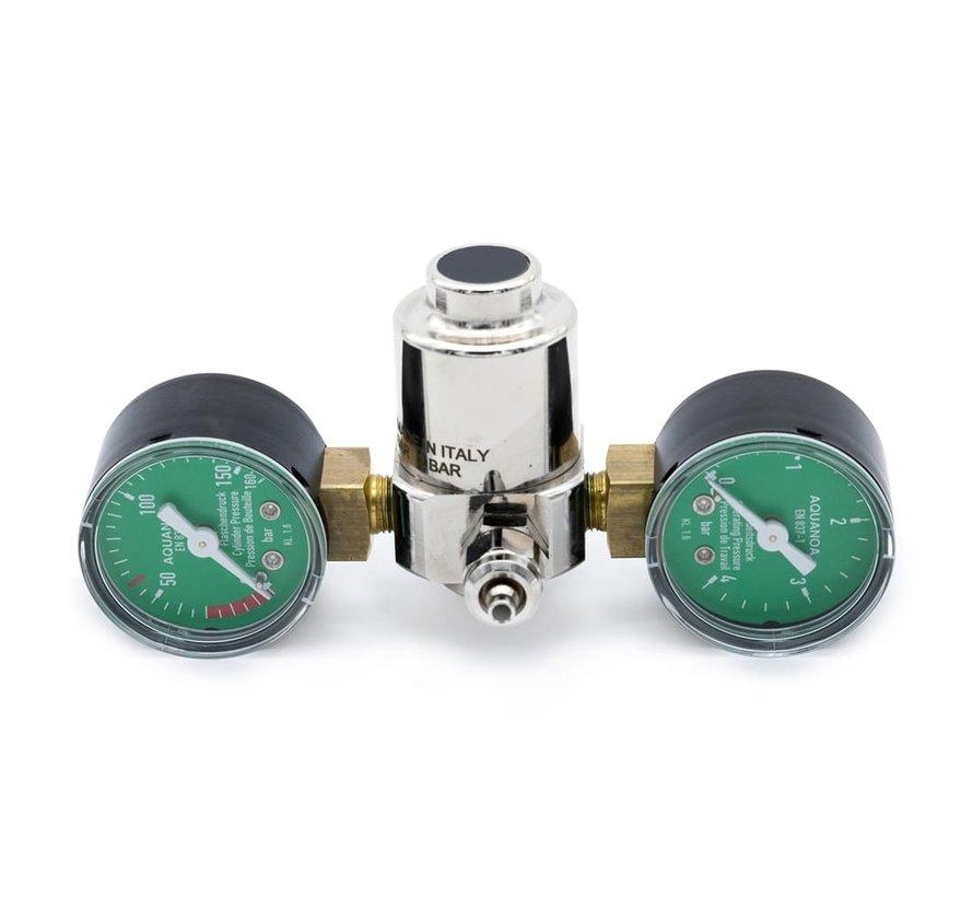 Aqua-Noa CO2 drukregelaar BASIC voor wegwerpflessen met 2 manometers en naaldventiel