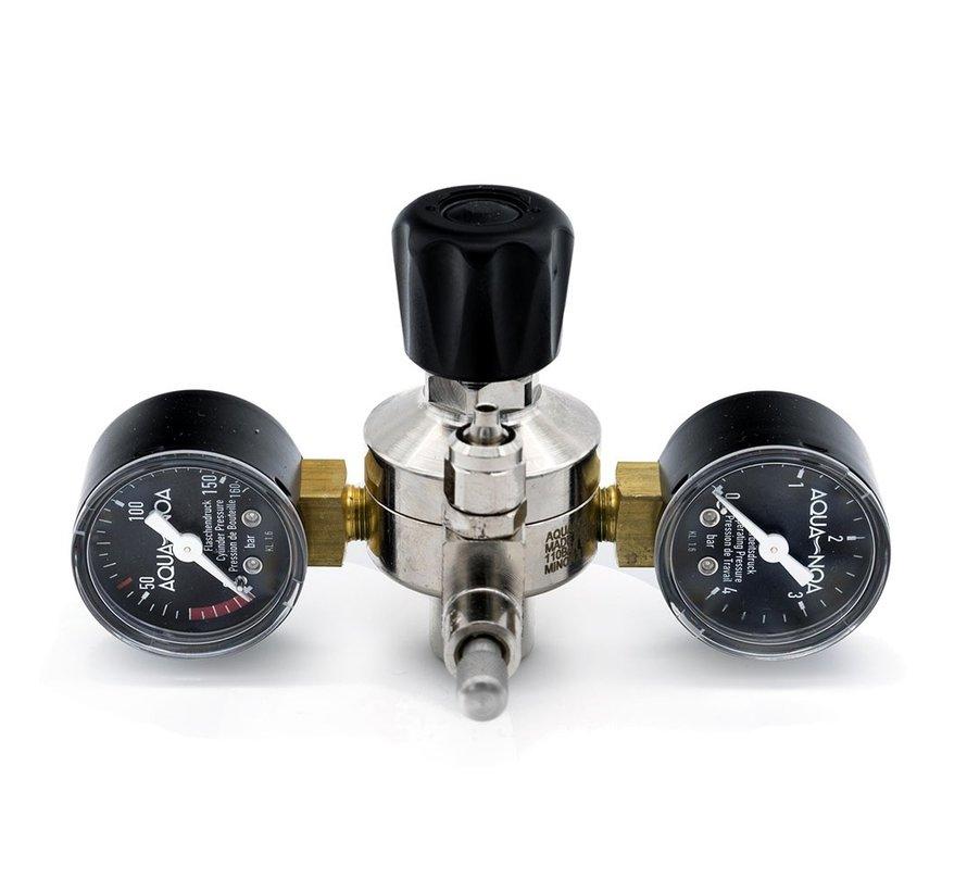 Aqua-Noa CO2 drukregelaar PROFI E voor wegwerpflessen met 2 manometers en naaldventiel