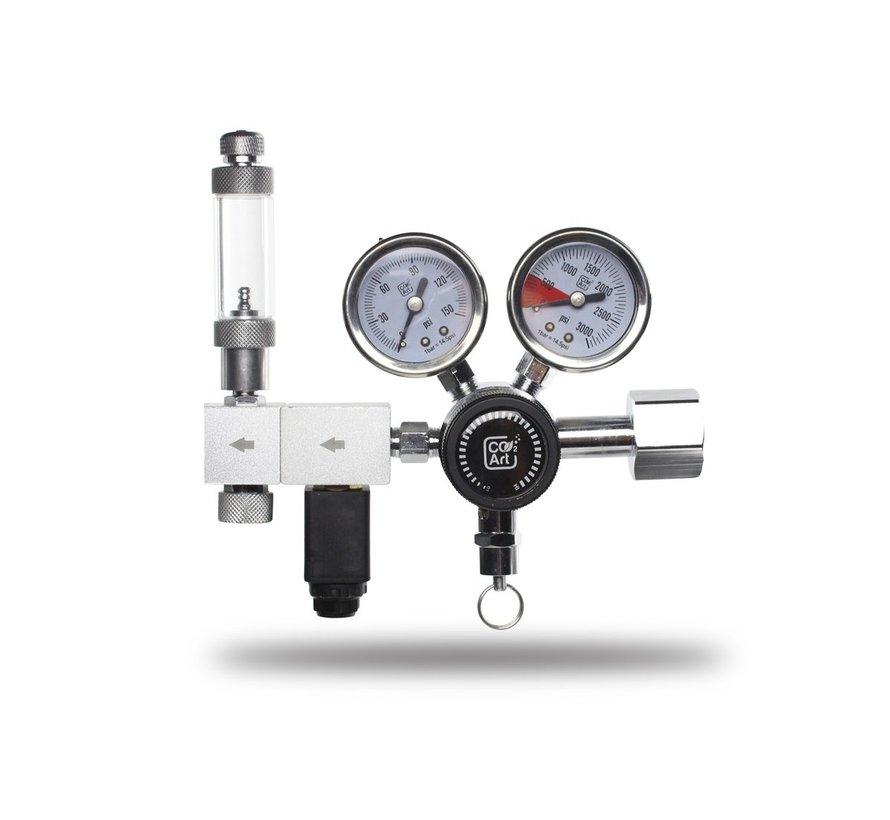 CO2Art PRO-Elite Dual Stage CO2 drukregelaar met geïntegreerd magneetventiel
