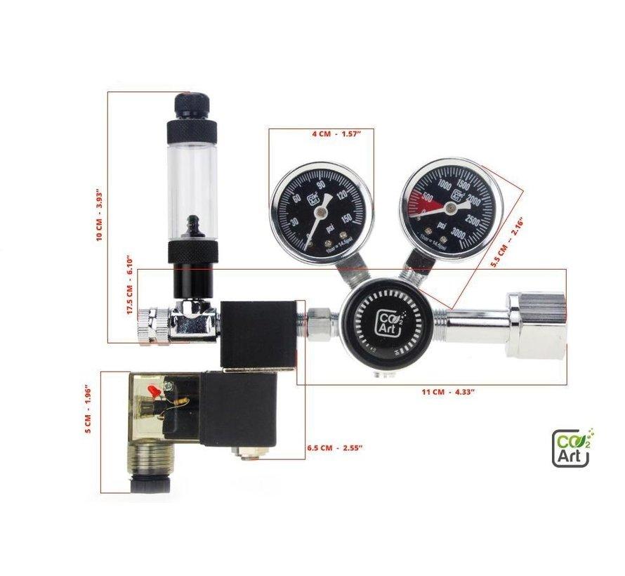 CO2Art PRO-SE Dual Stage CO2 drukregelaar met geïntegreerd magneetventiel