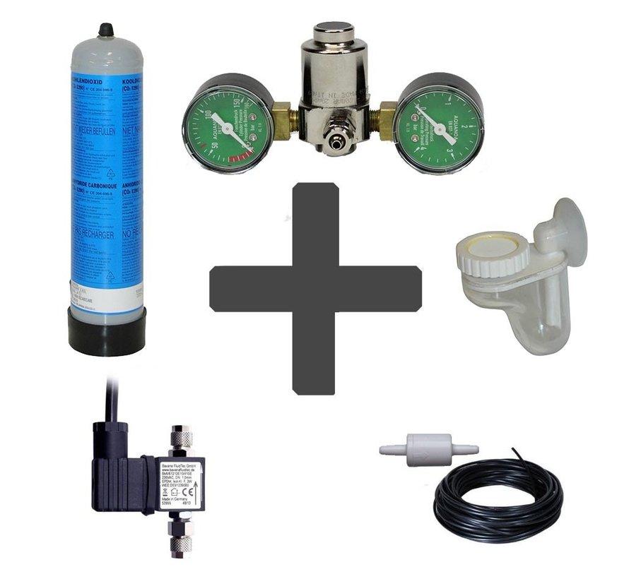 Complete CO2 set BASIC 600 gram wegwerpfles met dubbele manometers