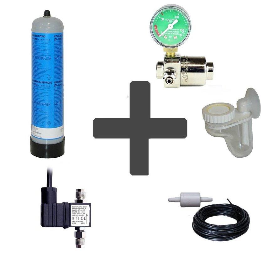 Complete CO2 set BASIC 600 gram wegwerpfles met enkele manometer
