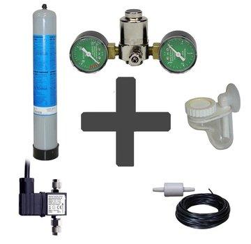 de Visvoer WebWinkel Complete CO2 set BASIC 850 gram wegwerpfles met dubbele manometers