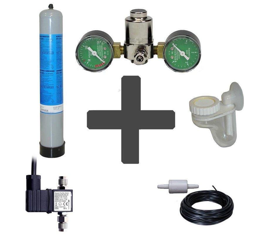 Complete CO2 set BASIC 850 gram wegwerpfles met dubbele manometers