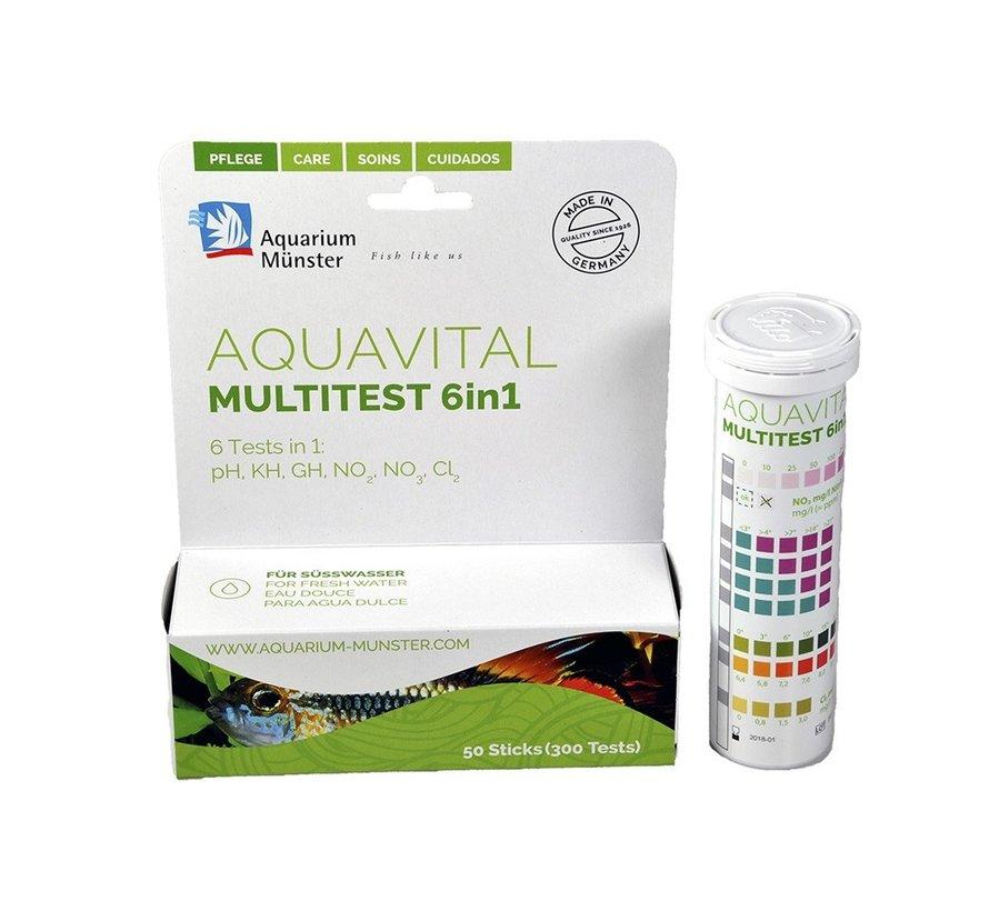 Aquavital Multitest 6in1 50 teststrips zoetwater