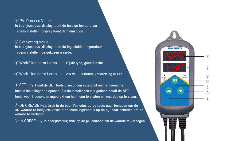Instellen Inkbird temperatuur controller