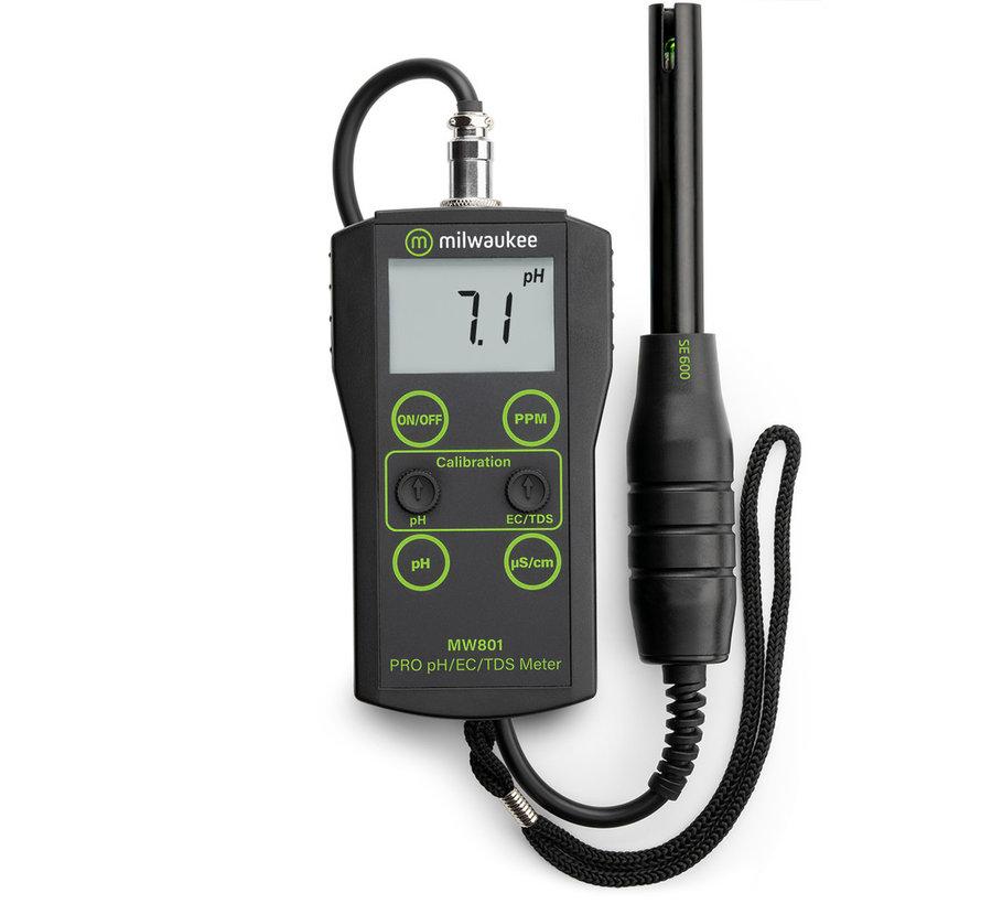 Milwaukee MW-801 gecombineerde digitale pH + EC + TDS meter
