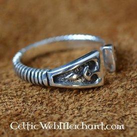 Viking Ring med diamant mønster, sølv