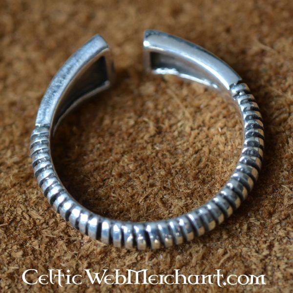 Viking Pierścionek z brylantem wzór, srebro