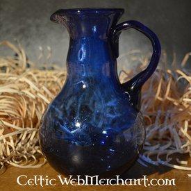 Roman glas hälla kanna, blå