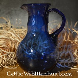 Romana, vidrio, colada, jarro, azul