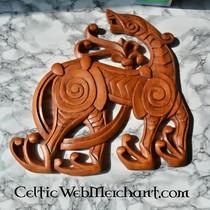 Viking belt end Borre animal, silvered