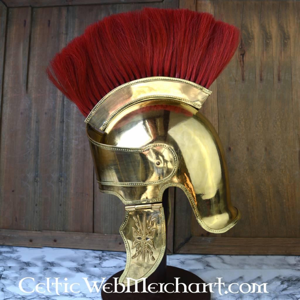 Attische helm met helmkam messing