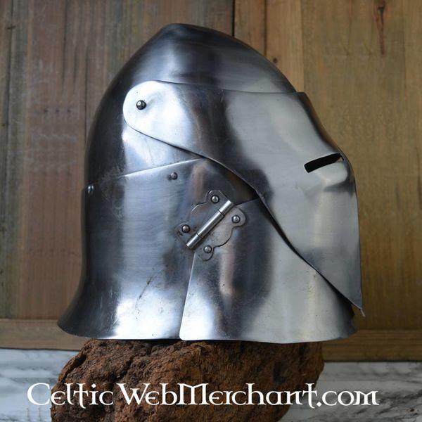 Gesloten platte bascinet battle-ready
