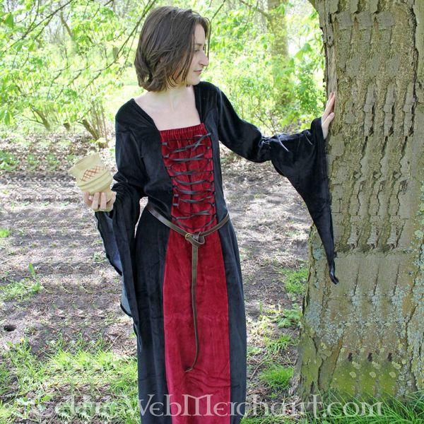 Kjole Aline rød-sort