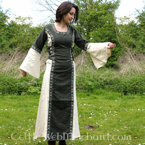 Klänning Cleena grön-vit