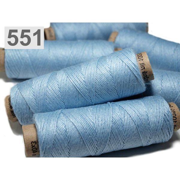 Linen garn klare blå 50m