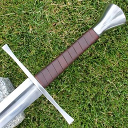 Hand-and-a-half sword Darren, blunt, brown leather