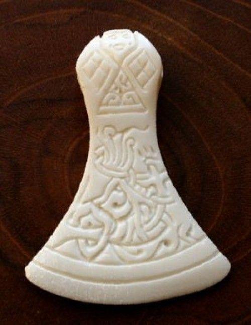 Bone Viking axe pendant