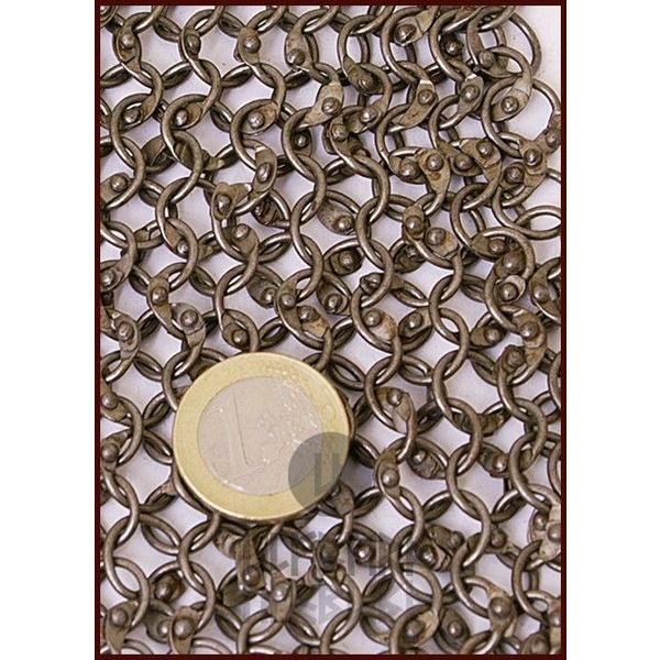 Ulfberth Coif with square neckline, round rings - round rivets, 8 mm