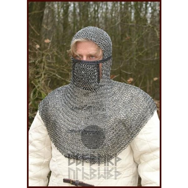 Ulfberth Coif with square visor, round rings - round rivets, 8 mm