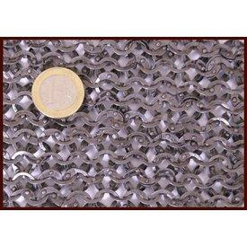 Ulfberth Kettenhemd Stück, Flachringe - Rundnieten, 20 x 20 cm
