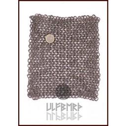Kettenhemd Stück, Flachringe - Rundnieten, 20 x 20 cm