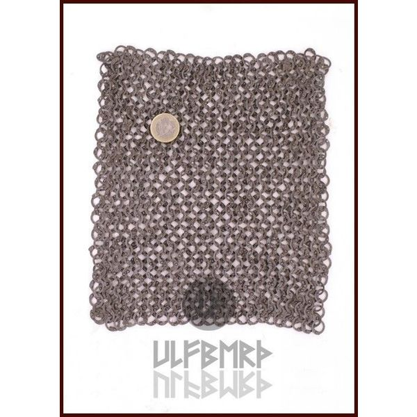 Ulfberth Chain mail piece, flat rings - round rivets, 20 x 20 cm
