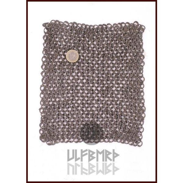 Ulfberth Pièce de cotte de maille, anneaux plats - rivets ronds, 20 x 20 cm