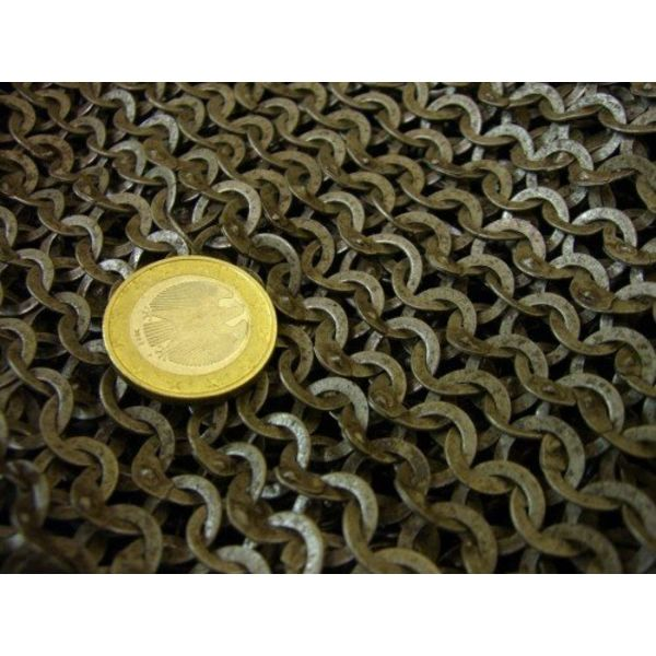 Ulfberth Maliënkap met vierkante hals, gemixt geklonken ringen, 6 mm
