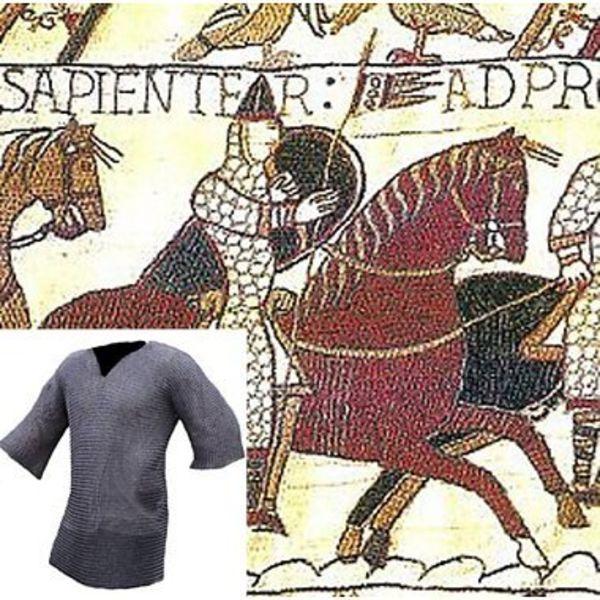 Ulfberth Kettenhemd mit halblangen Ärmeln, gemischte Flachringe - Keilnieten, 8 mm