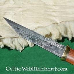 Seax corto germanico in acciaio damascato