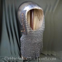 14 wieku przyłbica z chainmail kołnierz kolczy