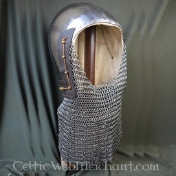 14th century bascinet with chainmail aventail
