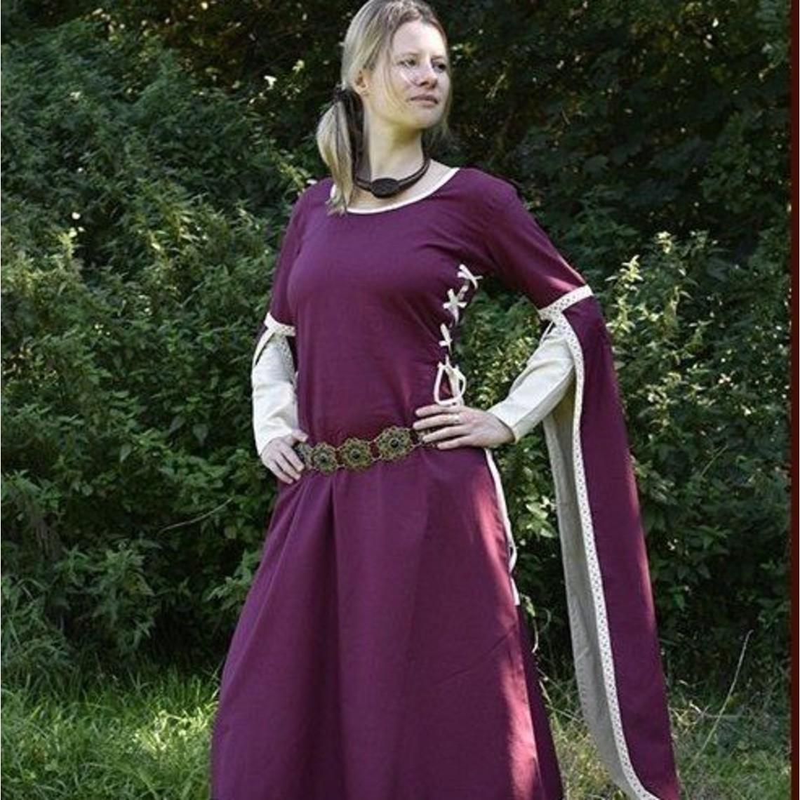 Middeleeuwse jurk Dorothee, bordeaux-naturel