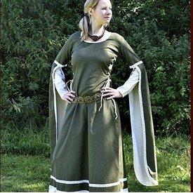 Mittelalterlichen Kleid Dorothee, olive / Natur