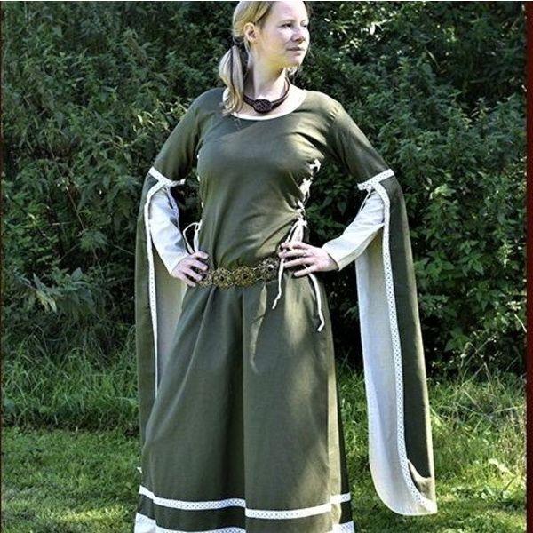 Middelalder Dress Dorothee, oliven / naturlig