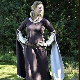 Mittelalterkleid Dorothee, braun / naturfarbener