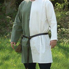 Middelalderlige tunika mi-parti grøn-hvid