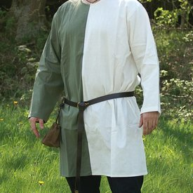Mittelalterliche Tunika mi-parti grün-weiß
