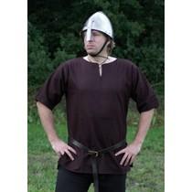 Ulfberth Viking tunic with short sleeves, brown