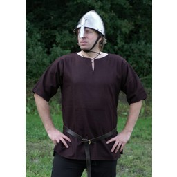 Viking tunic with short sleeves, brown
