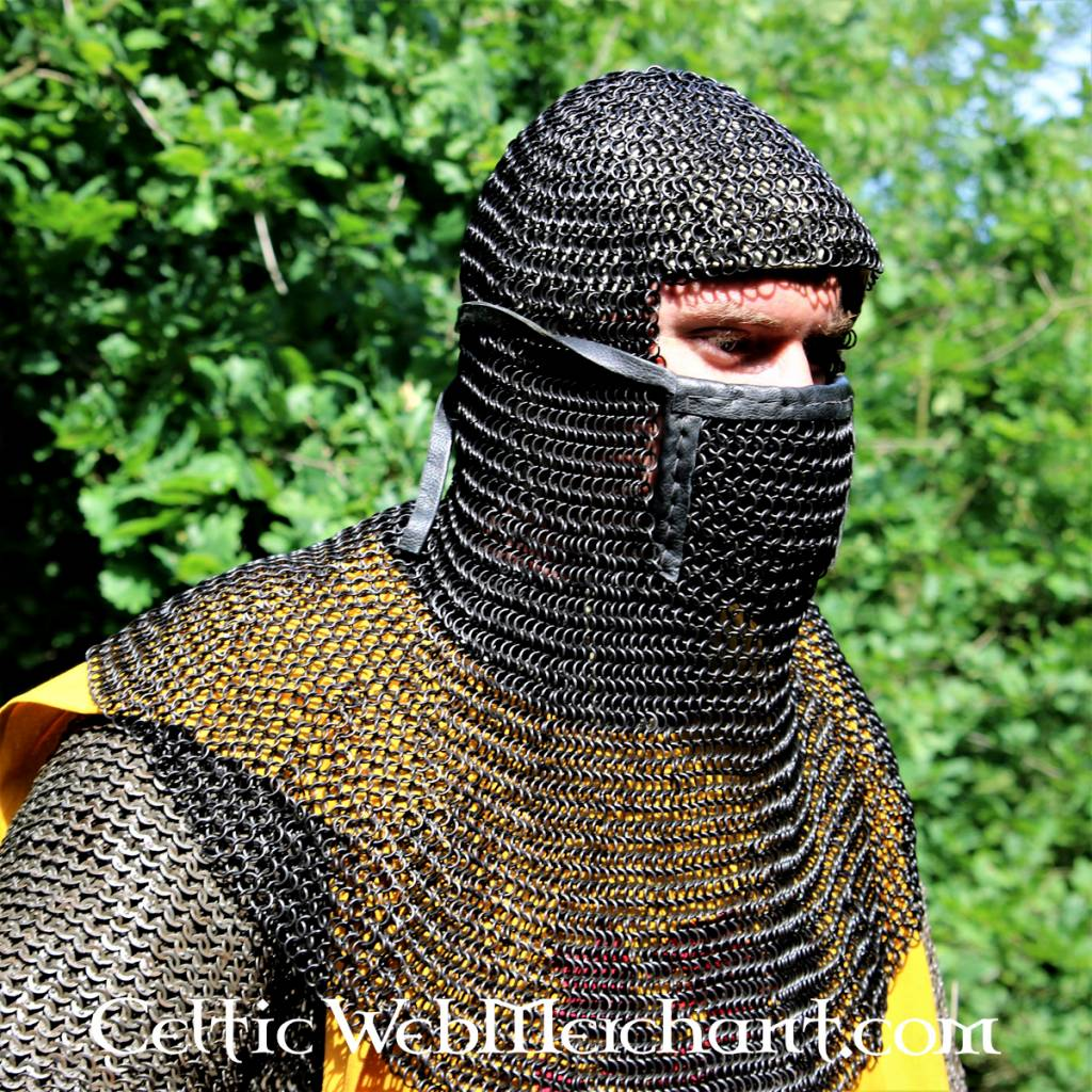 Coif with square visor, blackened, 8 mm