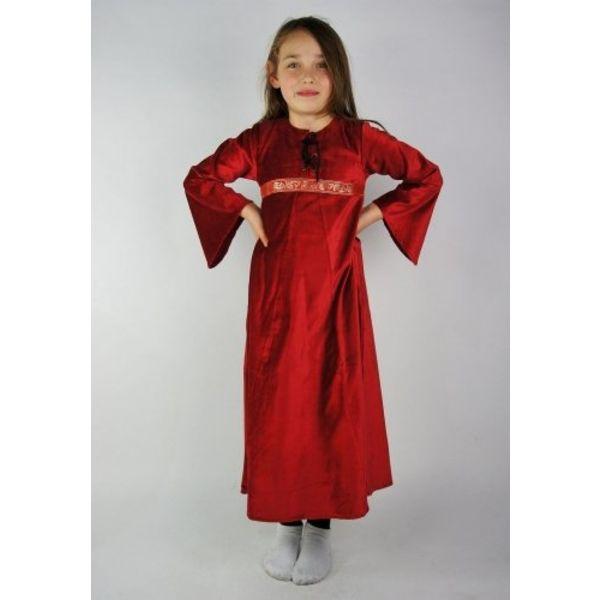 vestido de Ariane veludo da menina, vermelho