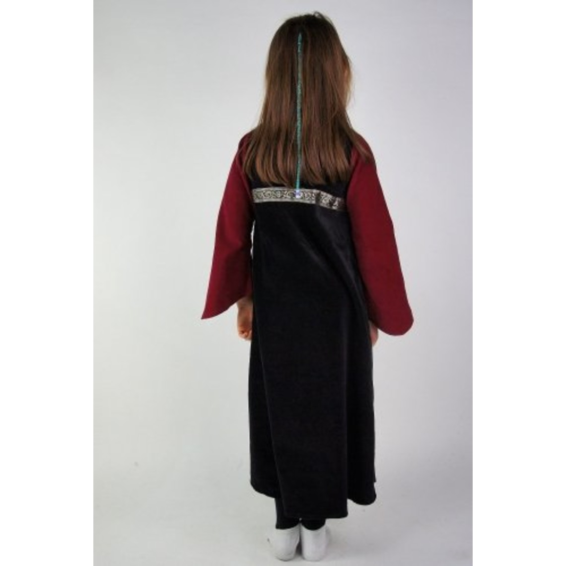 Leonardo Carbone Vestido de chica de terciopelo Ariane, negro-rojo